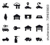 16 vector icon set   eco car ... | Shutterstock .eps vector #739835803