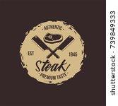 exclusive steak house vintage...   Shutterstock .eps vector #739849333