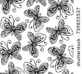 seamless pattern with doodle... | Shutterstock .eps vector #739855537
