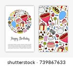 card templates with hand drawn... | Shutterstock .eps vector #739867633