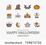halloween outline vector icon... | Shutterstock .eps vector #739872733