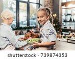 granddaughter assisting for... | Shutterstock . vector #739874353