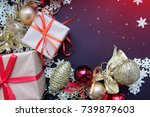 christmas greeting card. gold... | Shutterstock . vector #739879603