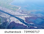 aerial view of the axios river... | Shutterstock . vector #739900717
