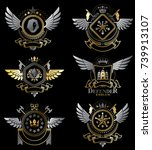 vintage heraldry design... | Shutterstock .eps vector #739913107
