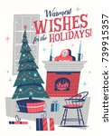 christmas greeting card. mid... | Shutterstock .eps vector #739915357