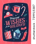 christmas greeting card. mid... | Shutterstock .eps vector #739915387