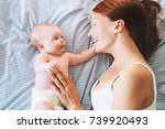 mother and baby. mom spend time ... | Shutterstock . vector #739920493