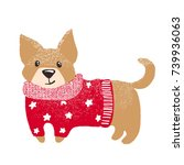 cute hand drawn dog in warm red ... | Shutterstock .eps vector #739936063