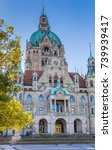Stock photo front of the new city hall in hannover germany 739939417