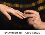 romantic proposal  wedding or...   Shutterstock . vector #739943527