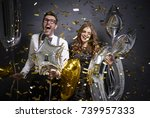 screaming couple cheering while ... | Shutterstock . vector #739957333