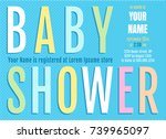 vector invitation fof baby... | Shutterstock .eps vector #739965097