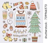 winter elements and christmas... | Shutterstock .eps vector #739966573