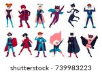 bundle of kids superheroes.... | Shutterstock .eps vector #739983223