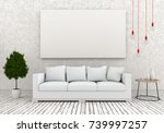 mock up poster frame in hipster ... | Shutterstock . vector #739997257