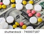 medicine pills or capsules ...   Shutterstock . vector #740007187