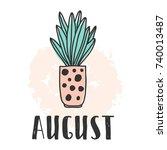 calendar 2018 year august month.... | Shutterstock .eps vector #740013487