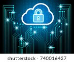 cyber security data protection... | Shutterstock .eps vector #740016427