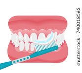 jaw with teeth and toothbrush... | Shutterstock .eps vector #740018563