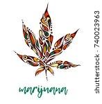 bright hand drawn marijuana leaf   Shutterstock .eps vector #740023963