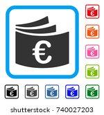 euro checkbook icon. flat gray...