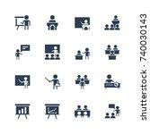 training  presentation icon set ... | Shutterstock .eps vector #740030143