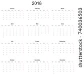 calendar 2018 year simple style. | Shutterstock . vector #740036503