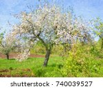 spring landscape  oil paintings ...   Shutterstock . vector #740039527