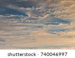 sunset sky with orange colored... | Shutterstock . vector #740046997