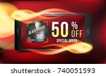 black friday 50  off discount.... | Shutterstock .eps vector #740051593