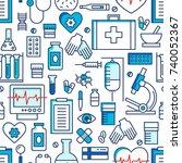 medical icons vector seamless... | Shutterstock .eps vector #740052367