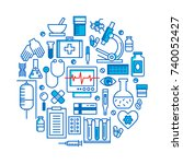 medical icons vector set.... | Shutterstock .eps vector #740052427