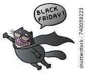 black friday. super cat flies... | Shutterstock .eps vector #740058223