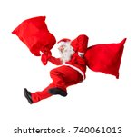funny santa claus falls with a... | Shutterstock . vector #740061013