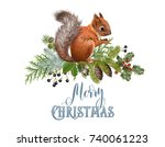 vector christmas composition... | Shutterstock .eps vector #740061223