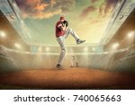 baseball players in action on... | Shutterstock . vector #740065663