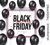 black friday square sale banner ... | Shutterstock .eps vector #740069983