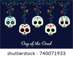 day of the dead card or... | Shutterstock .eps vector #740071933