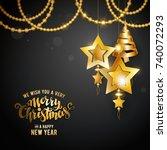 merry christmas golden text.... | Shutterstock .eps vector #740072293