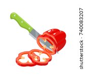 cooking vegetables. slicing...   Shutterstock .eps vector #740083207