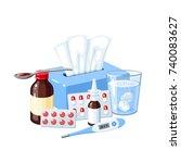 medication for sore throat  flu ... | Shutterstock .eps vector #740083627