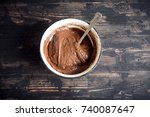basic homemade brownie or... | Shutterstock . vector #740087647