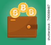 bitcoin wallet. gold physical... | Shutterstock .eps vector #740088487
