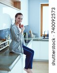 woman using mobile phone... | Shutterstock . vector #740092573