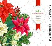 vector card. winter ornament on ... | Shutterstock .eps vector #740100343