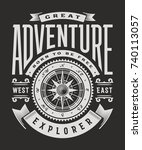 vintage great adventure... | Shutterstock .eps vector #740113057