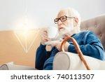 serious pensioner having... | Shutterstock . vector #740113507