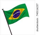 brazil flag  brazil icon vector ... | Shutterstock .eps vector #740116237