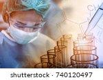 scientist working in the... | Shutterstock . vector #740120497